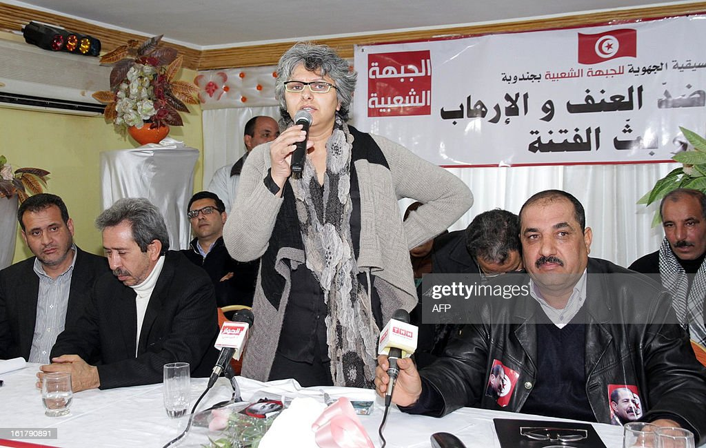 The widow of murdered opposition figure Chokri Belaid, Besma Khalfaoui speaks during a meeting with representatives of the Tunisia's leftist opposition alliance, Front Populaire, to pay tribute to Belaid on February 16, 2013 in Belaid's hometown Jandouba, northwestern Tunisia. Besma Khalfaoui has become a symbol of Tunisia's secular opposition and scourge of the ruling Islamists.