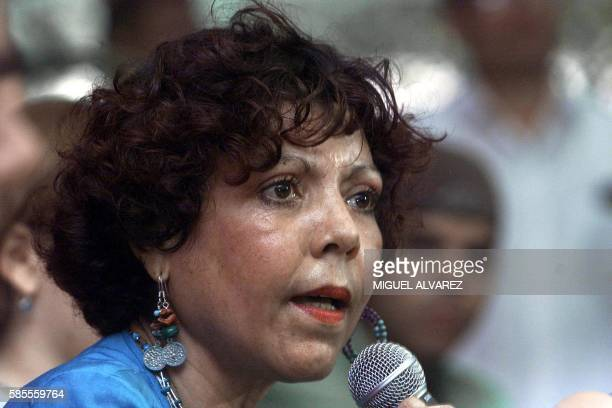 The wife of exPresident Daniel Ortega Rosario Murillo is seen at a press conference in ManaguaNicaragua 13 December 2001 Rosario Murillo esposa del...