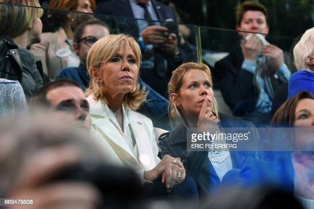The wife of French presidential election candidate for the En Marche movement Emmanuel Macron Brigitte Trogneux and her daughter Tiphaine Auziere...