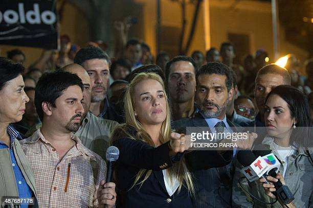 The wife of jailed opposition leader Leopoldo Lopez Lilian Tintori reacts during press conference in Caracas on September 10 2015 Jailed Venezuelan...