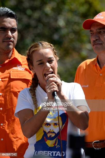 The wife of jailed Venezuelan opposition leader Leopoldo Lopez Lilian Tintori gives a speech during a demonstration held on the third anniversary of...