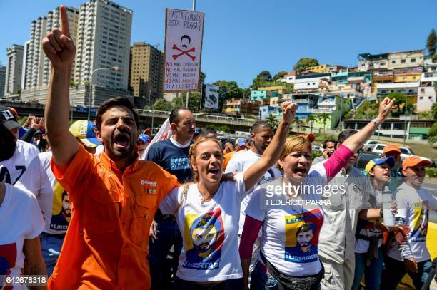 The wife of jailed Venezuelan opposition leader Leopoldo Lopez Lilian Tintori takes part in a demonstration held on the third anniversary of his...