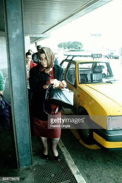 The wife of Salvatore Riina aka Toto Riina Antonietta Bagarella aka Ninetta Bagarella and other relatives visit the mafia boss at the prison of...