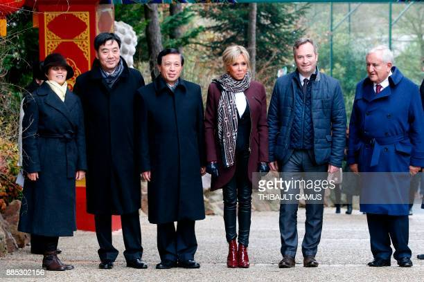 The wife of the French president Brigitte Macron French Junior Minister for Foreign Affairs JeanBaptiste Lemoyne Chinese viceforeign minister Zhang...