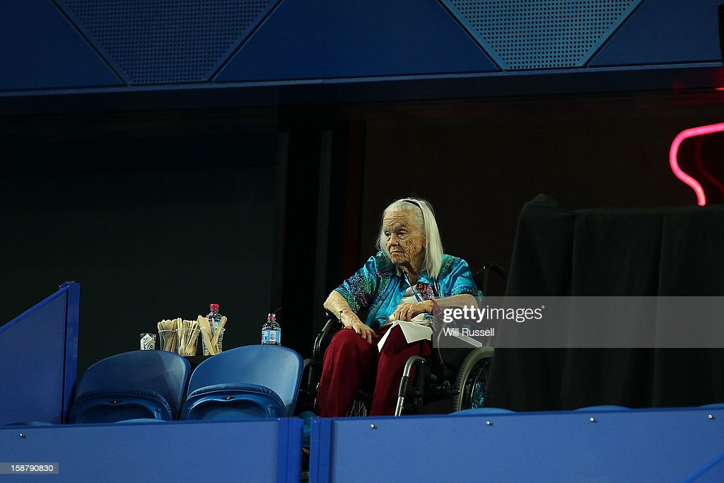 The wife of the late Harry Hopman Lucy Hopman looks on from the stands during day one of the Hopman Cup at Perth Arena on December 29, 2012 in Perth, Australia.