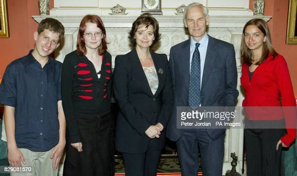 The wife of the Prime Minister Cherie Blair with Tom Day Clowance Cotterill David HeathcoatAmory and Millie Simeone from Wells during a tea party at...