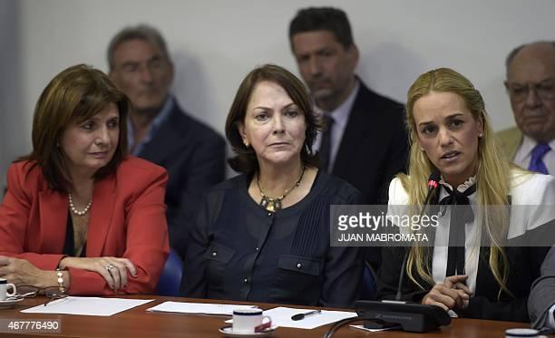 The wife of Venezuelan opposition leader Antonio Ledezma Mitzy Capriles and Lilian Tintori wife of opposition leader Leopoldo Lopez meet with...