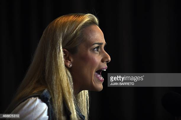 The wife of Venezuelan opposition leader Leopoldo Lopez Lilian Tintori speaks during a press conference in Caracas on April 7 2015 Mitzy Capriles and...