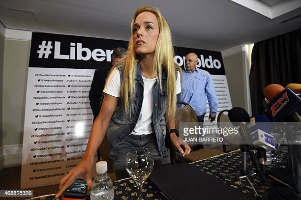 The wife of Venezuelan opposition leader Leopoldo Lopez Lilian Tintori during a press conference in Caracas on April 7 2015 Mitzy Capriles and Lilian...