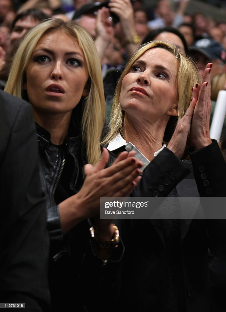 The wife of Wayne Gretzky, Janet Jones sits with daughter Paulina for Game Three of the 2012 Stanley Cup Final between the Los Angeles Kings and the New Jersey Devils at the Staples Center on June 4, 2012 in Los Angeles, California.