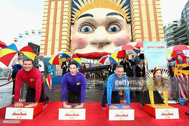 The Wiggles cement their hands as Luna Park Sydney launches a Star Path as part of its 80th anniversary celebrations at Luna Park on March 13 2015 in...