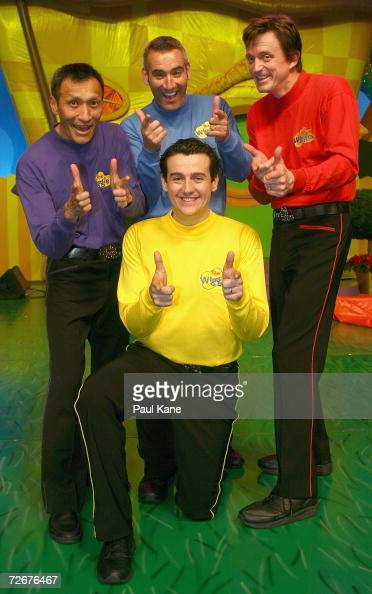 The Wiggles children's entertainers Jeff Fatt Anthony Field Sam Moran and Murray Cook pose for a photo on stage after The Wiggles held a press...