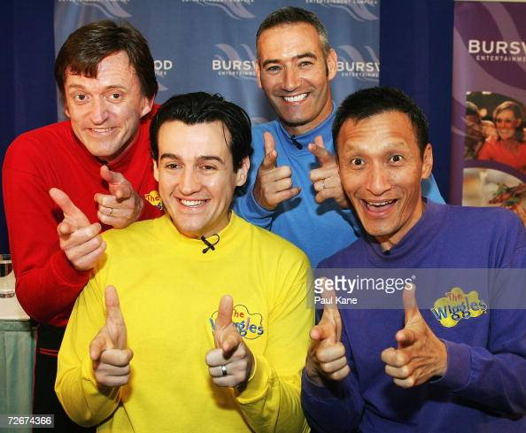 The Wiggles children's entertainers Murray Cook Sam Moran Anthony Field and Jeff Fatt attend a press conference announcing that understudy Sam Moran...