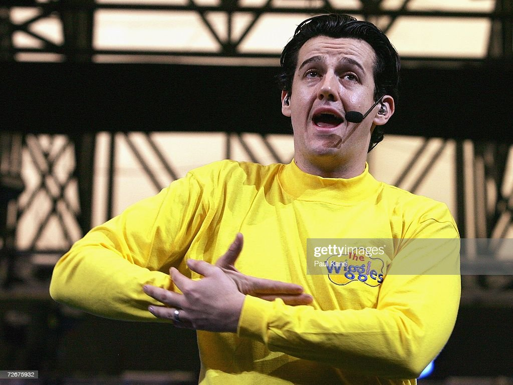 The wiggles children s entertainers sam moran performs on stage after