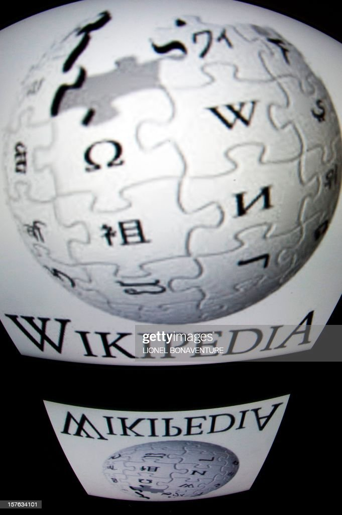 The 'Wikipedia' logo is seen on a tablet screen on December 4, 2012 in Paris.