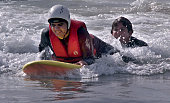 The Wilderness Education Project teams up with surfclasscom to teach 16 blind teenagers how to surf Mike Anaya of Wilmington riding the white water...