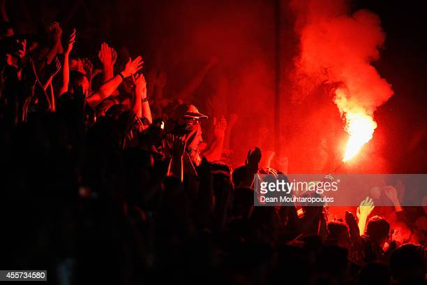 The Willem II fans celebrate victory after the Dutch Eredivisie match between Willem II Tilburg and NAC Breda at Koning Willem II Stadium on...