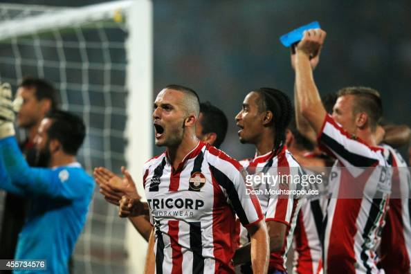 The Willem II players celebrate victory after the Dutch Eredivisie match between Willem II Tilburg and NAC Breda at Koning Willem II Stadium on...