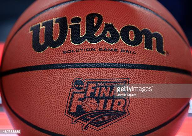 The Wilson basketball with the Final Four logo is seen as the Connecticut Huskies practice ahead of the 2014 NCAA Men's Final Four at ATT Stadium on...