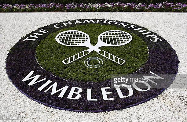 The Wimbledon logo in flowers on day four of the Wimbledon Lawn Tennis Championships at the All England Lawn Tennis and Croquet Club on June 26 2008...
