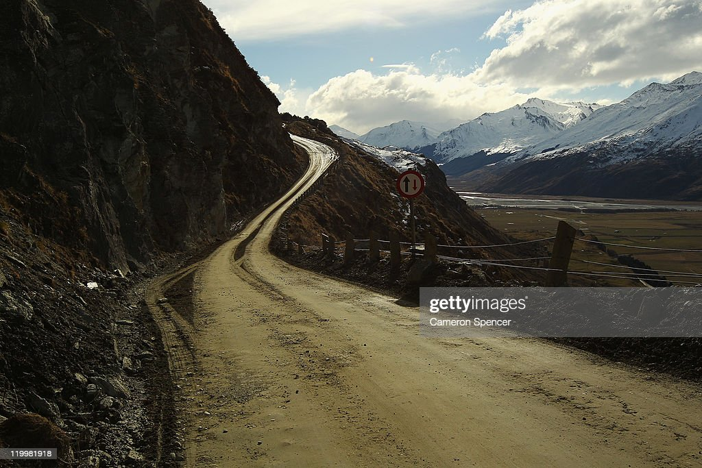 The winding road leading up to Treble Cone ski resort on July 28, 2011 in Wanaka, New Zealand.