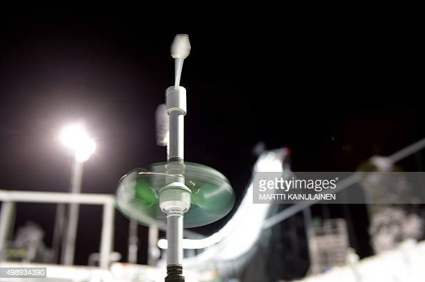 The windmeter spins while the start of Ski Jumping Large Hill HS142 Individual practice round is postponed due to severe wind conditions at the FIS...