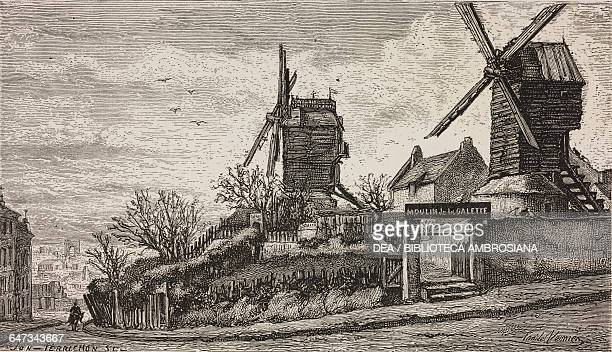 The windmills of Montmartre engraving by YonPerrichon based on a drawing by E Vernier from ParisGuide by leading writers and artists of France Volume...