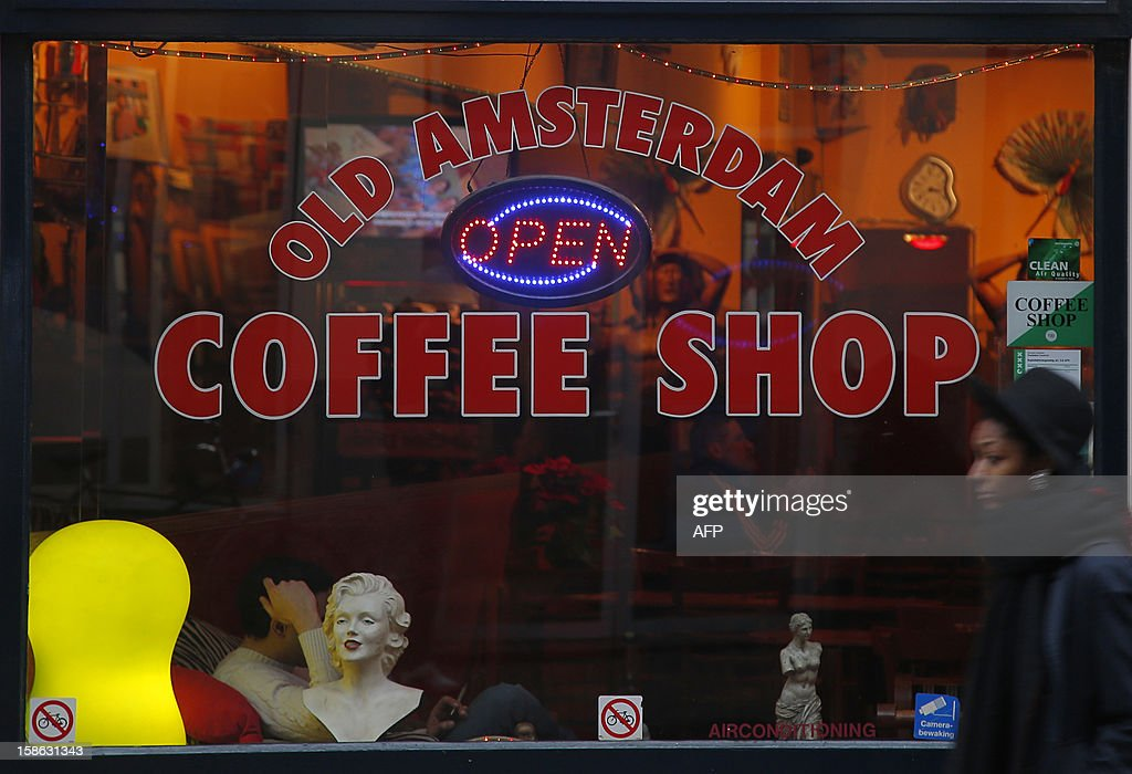 The window of a coffee shop selling recreative drugs is seen in Amsterdam on December 21, 2012.