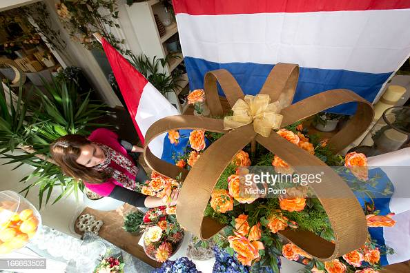The window of a florists is decorated in the hometown of Crown Prince Willem Alexander and his wife Princess Maxima in preparation for his coronation...
