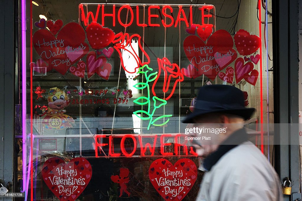 The window of a flower store is viewed in the floral district on February 13, 2013 in New York City. With Valentines Day tomorrow, the district is experiencing a rush of floral buyers and sellers to service customers on the national day of romance. Along with Mother's Day, Valentine's Day is one of the busiest days of the year for florists and flower growers.