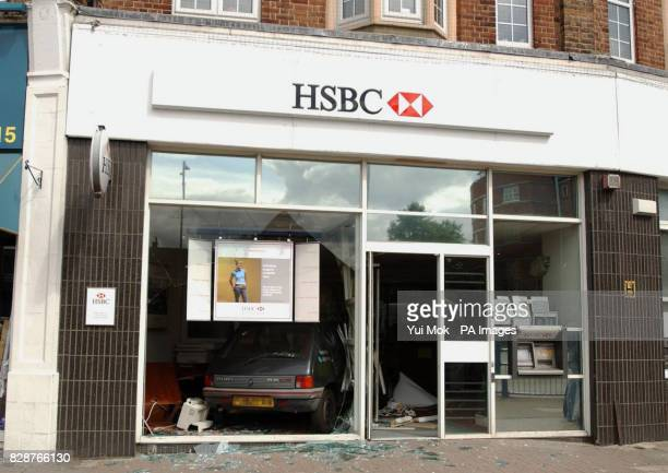 The window of the HSBC bank in Southgate north London after an armed robbery which took place today A sixty year old man was injured during the raid...