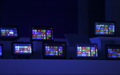 The Windows 8 software homepage is displayed on tablet devices at the Microsoft Corp Windows 8 software consumer preview event at the Mobile World...