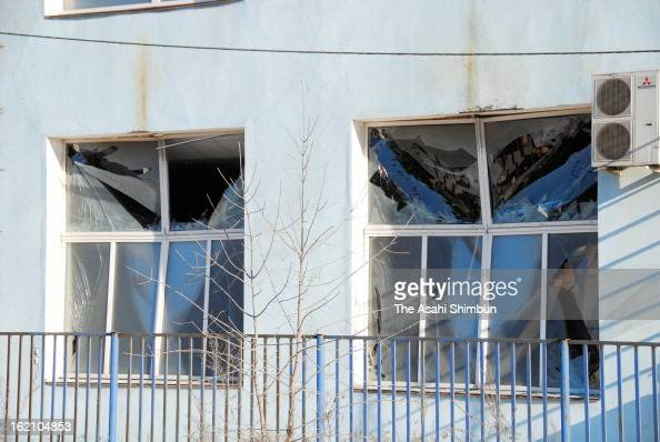 The windows are broken by the shock wave of the meteor explosion on February 16 2013 in Chelyabinsk Russia Local government reported more than 1100...