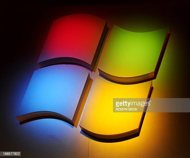 The Windows Logo at a Microsoft press conference at the 2011 International Consumer Electronics Show January 5 2011 in Las Vegas Nevada CES the...