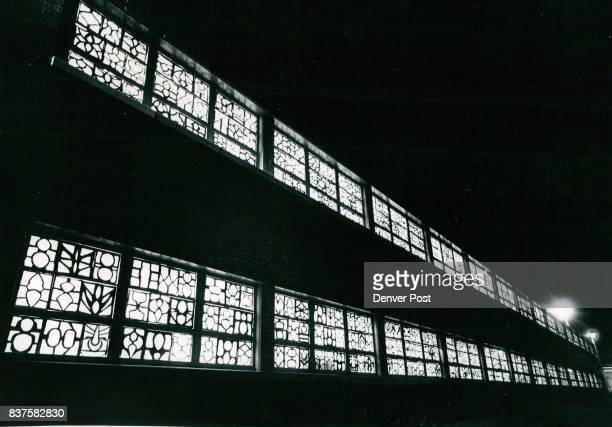 The windows of Barrett School 30th Ave and Jackson St have a cathedral like appearance because of colored transparent paper decorations prepared by...