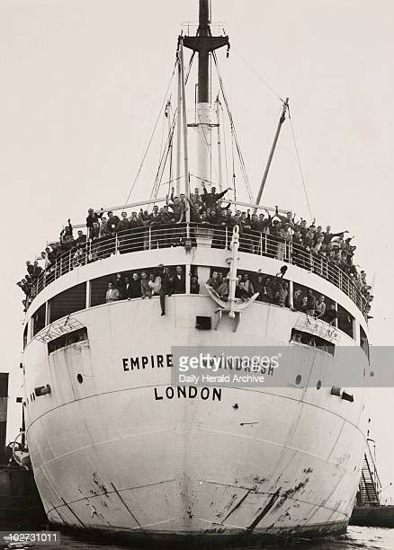 The 'Windrush' arrives from Jamaica 21 June 1948 A photograph of SS Empire Windrush docking at Tilbury having sailed from Australia via Jamaica with...