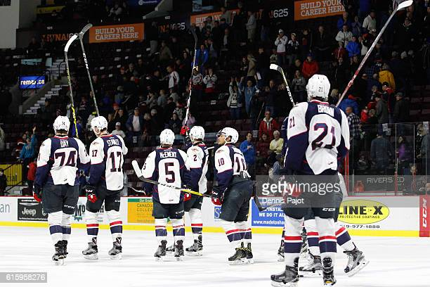 The Windsor Spitfires salute the fans after the 20 win against the Kingston Frontenacs on October 20 2016 at the WFCU Centre in Windsor Ontario Canada