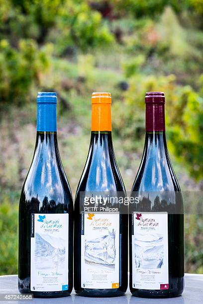 The wine bottles of Francois d'Haene the world champion and winner of the trail UltraTrail du Mont Blanc in 2014 is also winemaker owner of Domaine...