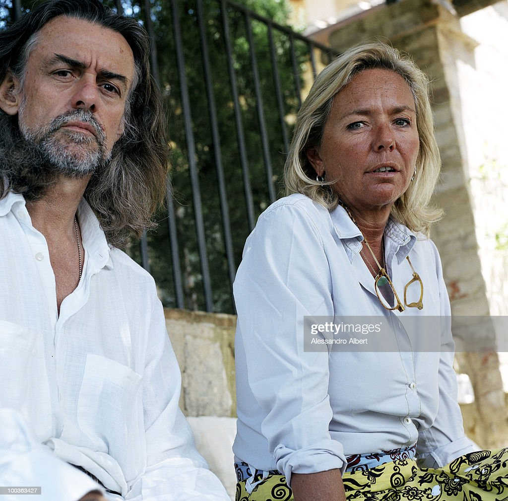 The wine consultant Gelasio Gaetani d'Aragona Lovatelli with his ex wife and owner of Argiano castle Contessa Noemi Marone Cinzano poses for a portraits session in the Villa Argiano on July 12, 2006 in Argiano, Italy
