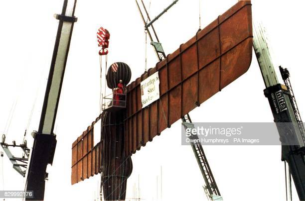 The wings are attatched to the controversial new north of England landmark the gigantic steel sculpture named 'Angel of the North' at its site by the...