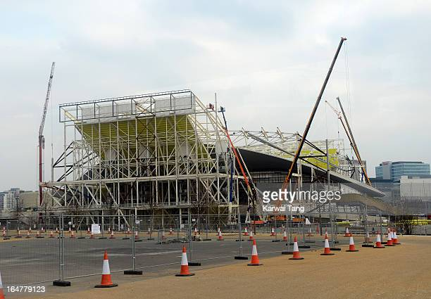 The wings being removed from the Aquatic Centre during the Park In Progress tour of Queen Elizabeth Olympic Park on March 27 2013 in London England