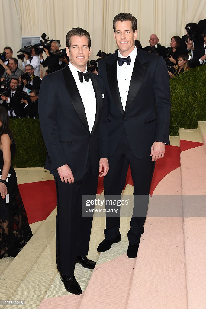 The Winklevoss brothers attends the 'Manus x Machina: Fashion In An Age Of Technology' Costume Institute Gala at Metropolitan Museum of Art on May 2, 2016 in New York City.