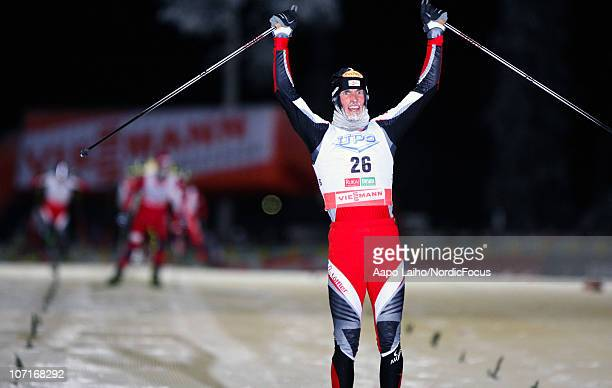 The winner Felix Gottwald of Austria comes to the finish in the Gundersen Ski Jumping HS 142/10km Cross Country event during day two of the FIS...