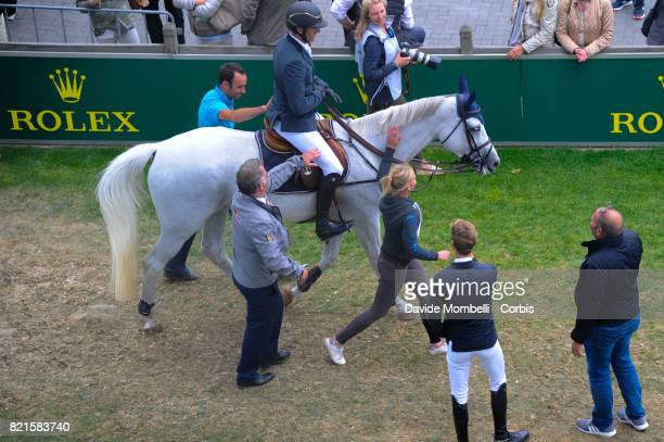 the winner Gregory Wathelet of Belgium riding Coree during Field exit of the second round Rolex Grand Prix CHIO World Equestrian Festival Aachen on...