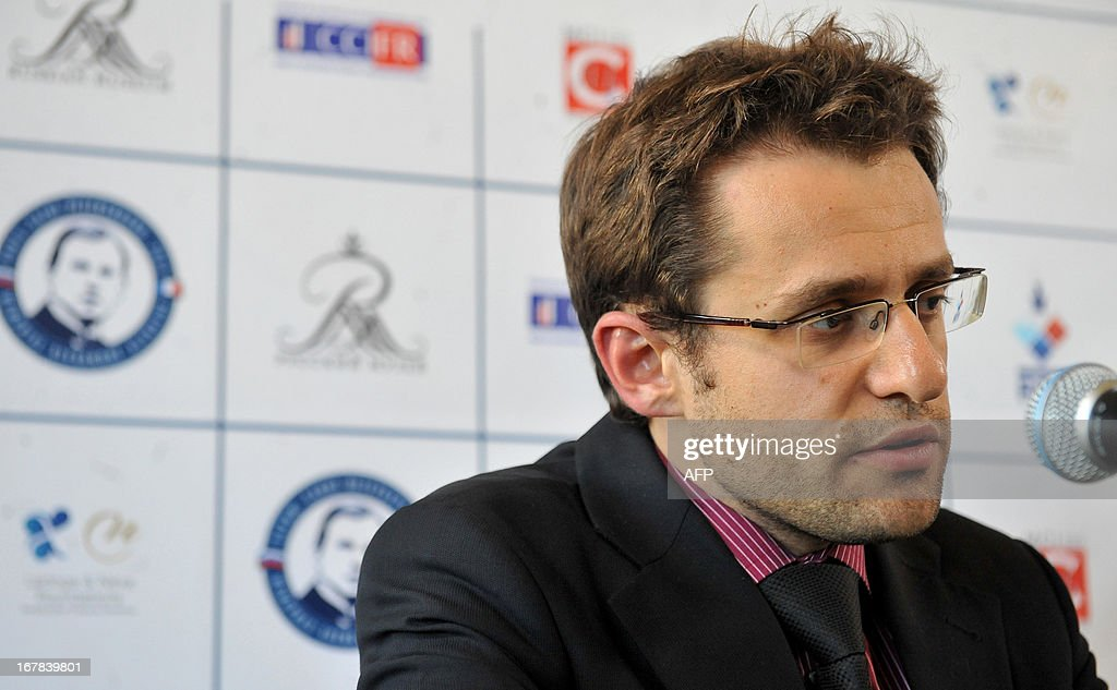 The winner of the Alekhine Memorial chess tournament, Armenia's Levon Aronian, speaks at his press conference in St.Petersburg, on May 1, 2013.