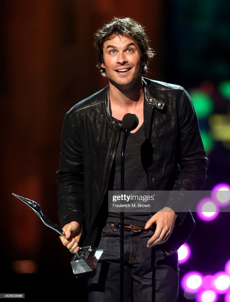 The Winner of the Best Threesome Award Ian Somerhalder of 'The Vampire Diaries speaks onstage at the 2014 Young Hollywood Awards brought to you by...
