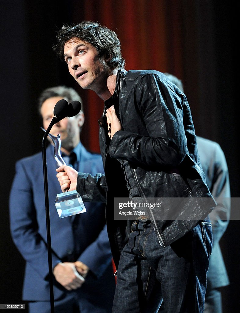The Winner of the Best Threesome Award <a gi-track='captionPersonalityLinkClicked' href=/galleries/search?phrase=Ian+Somerhalder&family=editorial&specificpeople=614226 ng-click='$event.stopPropagation()'>Ian Somerhalder</a> of 'The Vampire Diaries speaks onstage at the 2014 Young Hollywood Awards brought to you by Samsung Galaxy at The Wiltern on July 27, 2014 in Los Angeles, California. The Young Hollywood Awards will air on Monday, July 28 8/7c on The CW.