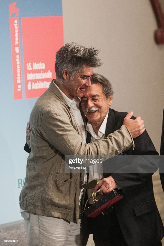 The winner of the Golden Lion for Lifetime Achievement Paulo Mendes da Rocha (Brasil) welcomed by Alejandro Aravena at the official opening ceremony of the 15th Biennale of Architecture on May 28, 2016 in Venice, Italy. The 15th International Architecture Exhibition of La Biennale di Venezia will be open to the public from May 28 to November 27 in Venice, Italy.