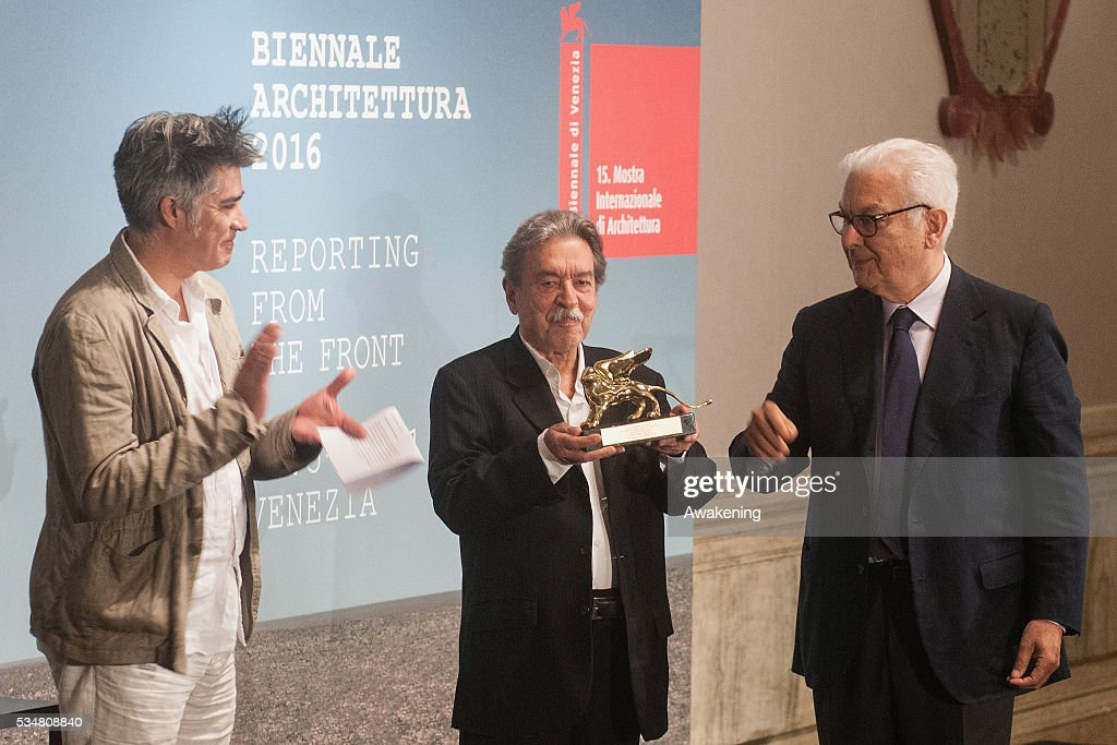 The winner of the Golden Lion for Lifetime Achievement Paulo Mendes da Rocha (Brasil) receives the prize at the official opening ceremony of the 15th Biennale of Architecture on May 28, 2016 in Venice, Italy. The 15th International Architecture Exhibition of La Biennale di Venezia will be open to the public from May 28 to November 27 in Venice, Italy.