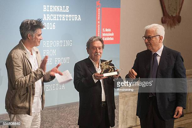 The winner of the Golden Lion for Lifetime Achievement Paulo Mendes da Rocha receives the prize at the official opening ceremony of the 15th Biennale...